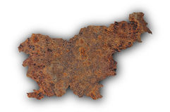 Map of Slovenia on rusty metal Royalty Free Stock Images