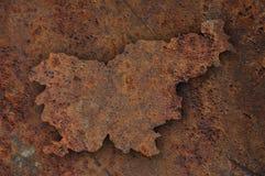 Map of Slovenia on rusty metal Stock Photo