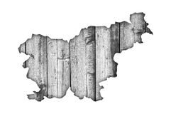Map of Slovenia on weathered wood Royalty Free Stock Photography
