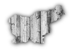 Map of Slovenia on weathered wood Royalty Free Stock Image