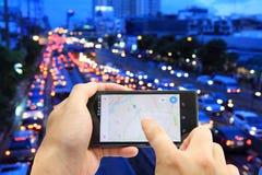 Map on smart phone Stock Photos
