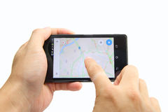 Map on smart phone Stock Image