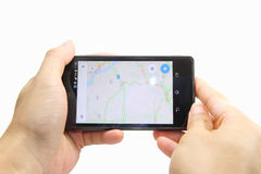Map on smart phone Royalty Free Stock Photos