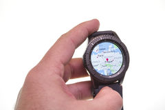 Map on Smart watch. Smart watch showing map on display Royalty Free Stock Photography