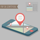 Map on smartphone. Map on blue smartphone vector Royalty Free Stock Images