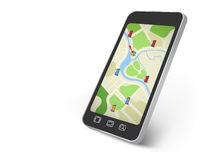 Map on the smartphone screen Stock Images