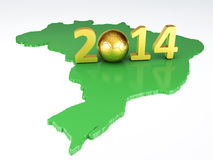 Map and Soccer ball of Brazil 2014. isolated white. Futbol World Cup Brazil 2014, 3d illustration Stock Photo