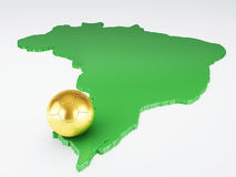 Map and Soccer ball of Brazil 2014. isolated white. Futbol World Cup Brazil 2014, 3d illustration Royalty Free Stock Photography