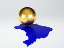 Map and Soccer ball of Brazil 2014. isolated white. Futbol World Cup Brazil 2014, 3d illustration Stock Photos