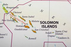 Map of Solomon Islands. Its capital city is Honiara. The Solomon Islands, a nation of hundreds of islands in the South Pacific, has many WWII-era sites royalty free stock image