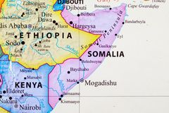 Map of Somalia. Its capital city is Mogadishu royalty free illustration