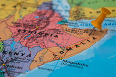 Map of Somalia with a orange pushpin stuck. State map with a pushpin stuck stock photo