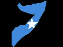 Map of Somalia and Somali flag Royalty Free Stock Images