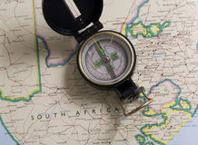 Map of south africa with compass. South african map with a compass on it Royalty Free Stock Photos