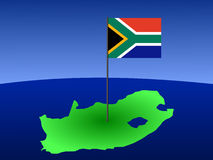 Map of South Africa with flag. Map of South Africa and South African flag on pole illustration Royalty Free Stock Photo