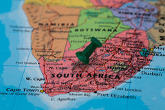 Map of South Africa with a green pushpin stuck Stock Images