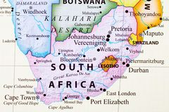 Map of South Africa. Its capital city is Pretoria royalty free stock photo