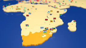 Map of South Africa with national flags. Map of African continent. Each capital city has the national flag waving in the wind. Focus is on South Africa Stock Photos