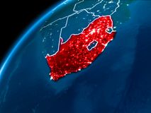 Map of South Africa at night. South Africa highlighted in red from Earth's orbit at night with visible country borders. 3D illustration. Elements of this stock photography