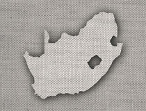 Map of South Africa on old linen Stock Photos