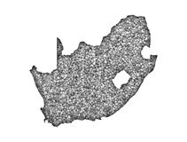 Map of South Africa on poppy seeds Stock Images