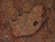 Map of South Africa on rusty metal Royalty Free Stock Photography
