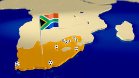 Map of South Africa with soccer theme. Map of South Africa with capital city, the national flag waving in the wind and soccer balls at the locations of the stock illustration
