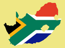 Map of South Africa and South African flag Royalty Free Stock Photos
