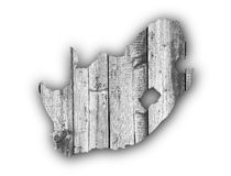 Map of South Africa on weathered wood Royalty Free Stock Image