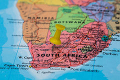 Map of South Africa with a yellow pushpin stuck Royalty Free Stock Photo