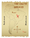 Map of the South America Stock Images