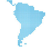 Map of South America. Abstract map of the South America made of blue and white boxes Stock Photography