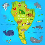 Map of the South America with animals Stock Photography