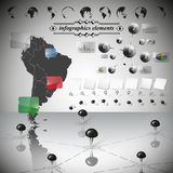 Map of South America, different icons and Royalty Free Stock Images