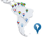 Map of South America. With national flags of states Stock Image