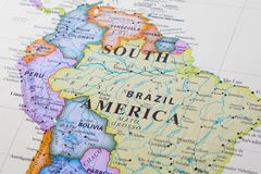 Map of South America. Northern part stock photos