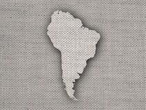 Map of South America on old linen Stock Photos