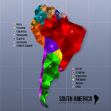 Map South America showing states in polygonal Royalty Free Stock Photos