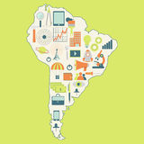 Map of South America with technology icons Stock Photography