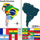 Map of South America. Vector map of South America with flags and location on world map Stock Photos