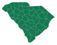 Map of South Carolina. Detailed and accurate illustration of map of South Carolina stock illustration
