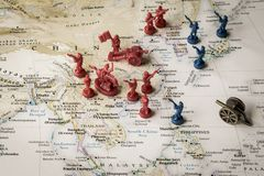 Map of the South China Sea and surrounding area. Macro close up of toy soldiers on a map of the South China Sea representing conflicting interests in the region Stock Photography