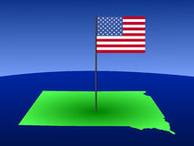 Map of South Dakota with Flag Stock Photo