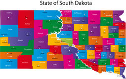 Map of South Dakota state Stock Photo