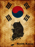 Map of South Korea. Against the background of the flag Royalty Free Stock Image