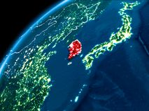 Map of South Korea at night. South Korea highlighted in red from Earth's orbit at night with visible country borders. 3D illustration. Elements of this image Royalty Free Stock Images