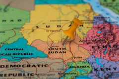 Map of South Sudan with a orange pushpin stuck Royalty Free Stock Image