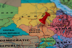 Map of  South Sudan with a red pushpin stuck. Map of South Sudan with a pushpin stuck Royalty Free Stock Photography