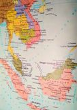 Map of Southeast Asia. Includes the countries of Cambodia, Indonesia, Laos, Malaysia, Burma Myanmar, Philippines, Singapore, Thailand, and Vietnam stock photography