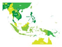 Map of Southeast Asia. Vector map in shades of green.  royalty free illustration